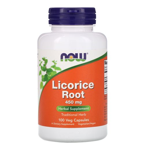 NOW Licorice Root Солодка, 450 мг, капсулы, 100 шт.